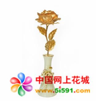 送花-大号全开金箔玫瑰 浪漫爱情