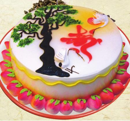 鲜花蛋糕-无糖蛋糕 洪福齐天