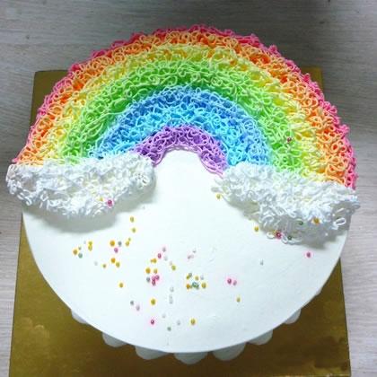 鲜花蛋糕-半弯彩虹