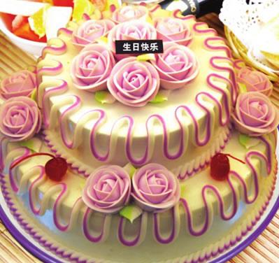 鲜花蛋糕-多层水果蛋糕