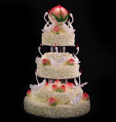鲜花蛋糕-黑天鹅 福寿齐天
