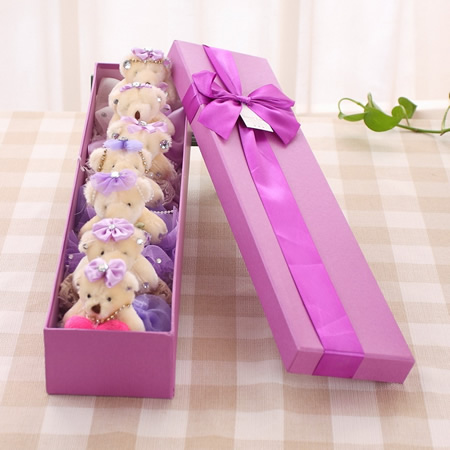 �r花店-七仙女熊�Y盒-紫色