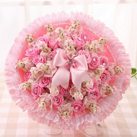 �r花定�-迷糊小熊-粉色