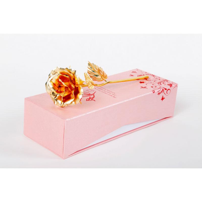 鲜花网-中号全开金箔玫瑰