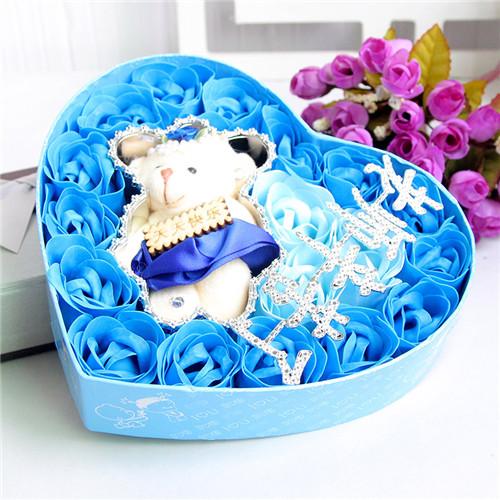 鲜花订购-18朵蓝色老师辛苦了+小熊