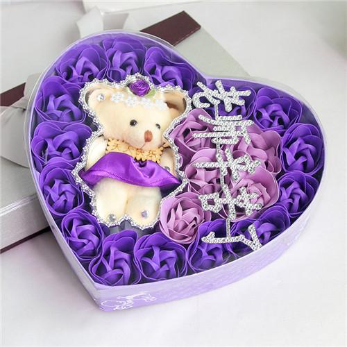 网上花店-18朵紫色老师辛苦了+小熊