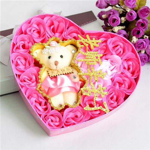 网上花店-18朵粉色老师辛苦了+小熊