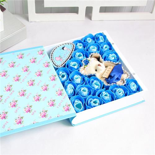 鲜花礼品-18朵蓝色书本教师节快乐