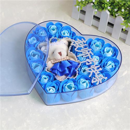 鲜花网-18朵香皂花老师款蓝色