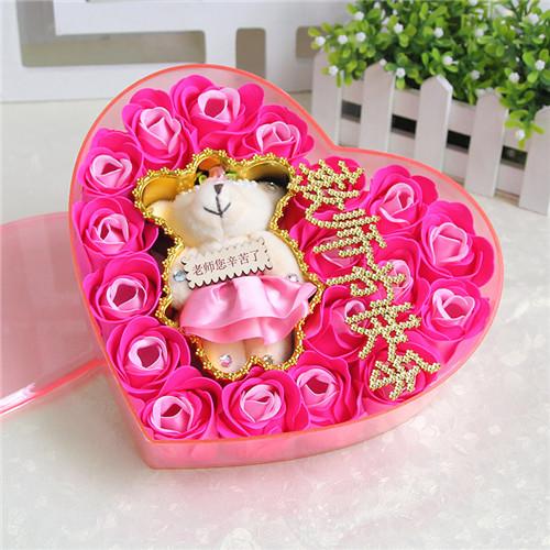 鲜花店-18朵香皂花老师款粉色