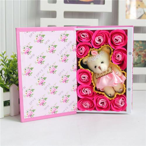 鲜花定购-10朵书本桃李满天下+小熊粉色