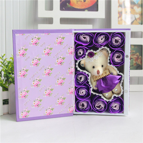 鲜花定购-10朵书本桃李满天下+小熊紫色