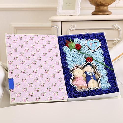 订花服务-香皂花一枝花+抱熊 蓝色