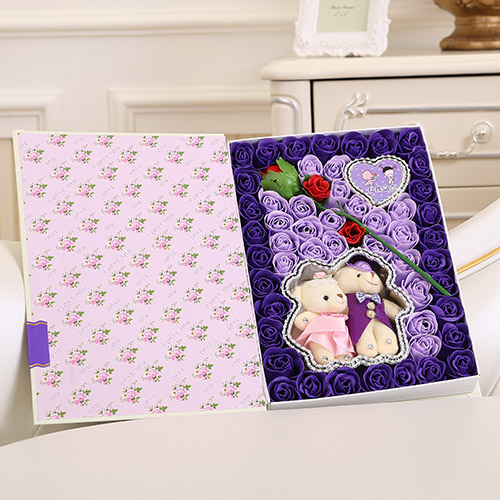 预订鲜花-香皂花一枝花+抱熊 紫色