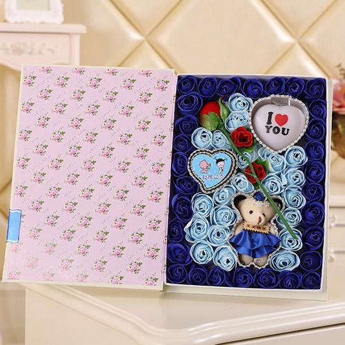 鲜花定购-香皂花一枝花+小熊 灯 蓝色
