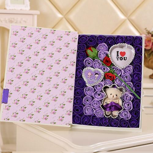 鲜花网站-香皂花一枝花+小熊 灯 紫色