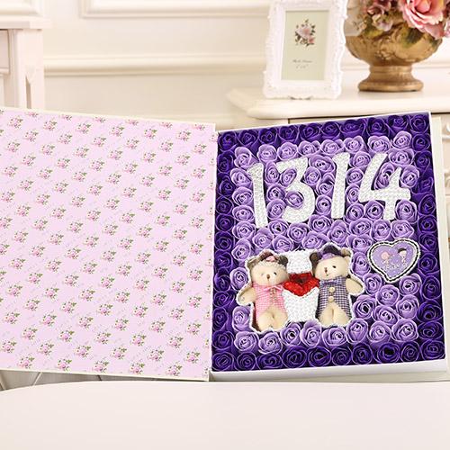 网上花店-香皂花1314+牵手熊 紫色