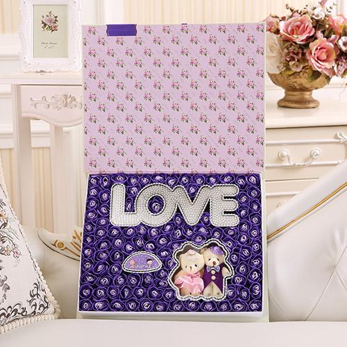 订花-香皂花横版LOVE+抱熊 紫色