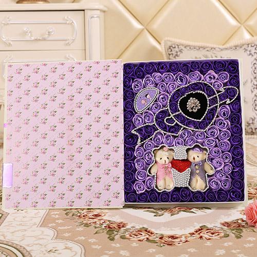鲜花店-一箭穿心+牵手熊 紫色