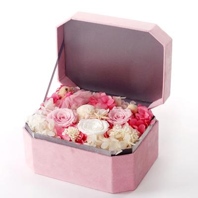 订花服务-八角礼盒 三朵玫瑰粉色礼盒