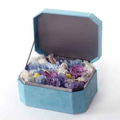 订花送花-八角礼盒 三大两小蓝色礼盒