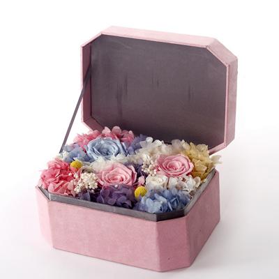 鲜花热线-八角礼盒 三大两小粉色礼盒