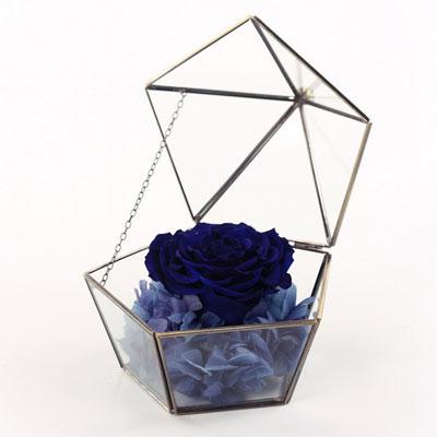 鲜花网站-五星玻璃花房 单朵深蓝