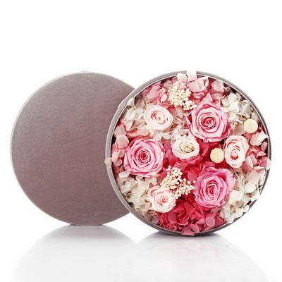 鲜花订购-圆形绒布礼盒 粉色