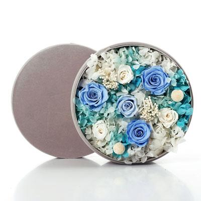 鲜花礼品店-圆形绒布礼盒 蓝色