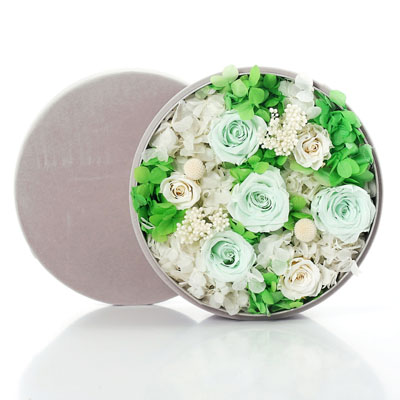网上花店-圆形绒布礼盒 绿色
