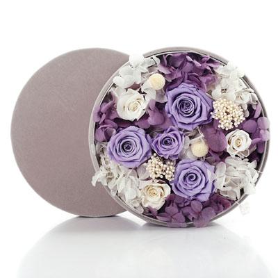 鲜花礼品-圆形绒布礼盒 紫色