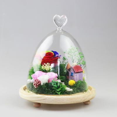网上订花-保鲜花 玻璃罩梦幻家园