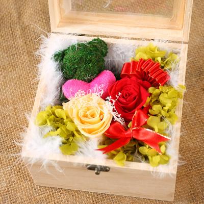网络订花-保鲜花 苔藓小熊玫瑰