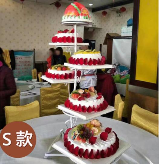 生日鲜花蛋糕-6层祝寿蛋糕