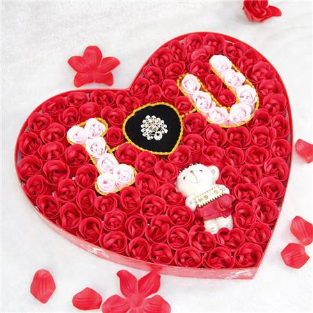 兰之馨肥皂花:100朵浪漫IU小熊戒指红色