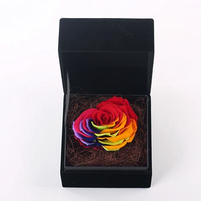 兰之馨永生花:黑色礼盒 心形七彩玫瑰