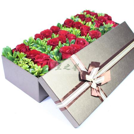 兰之馨鲜花网:1314玫瑰礼盒-一生一世